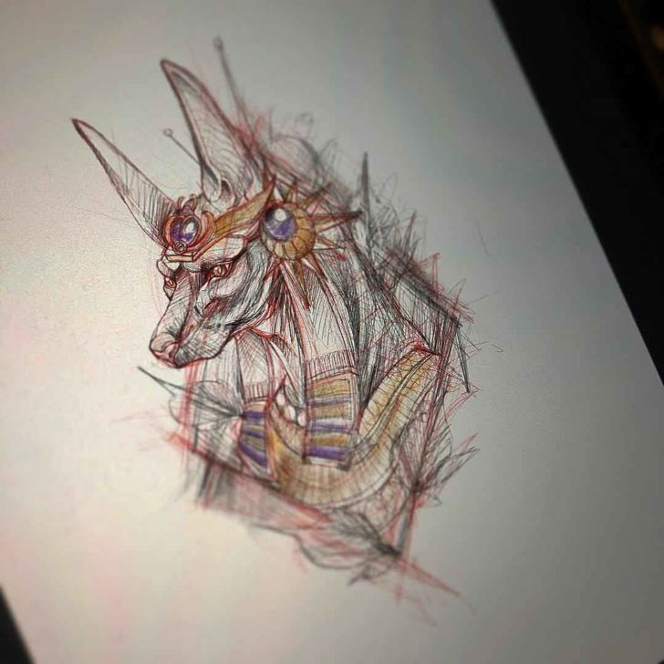 Sketchy Anubis Tattoo Design