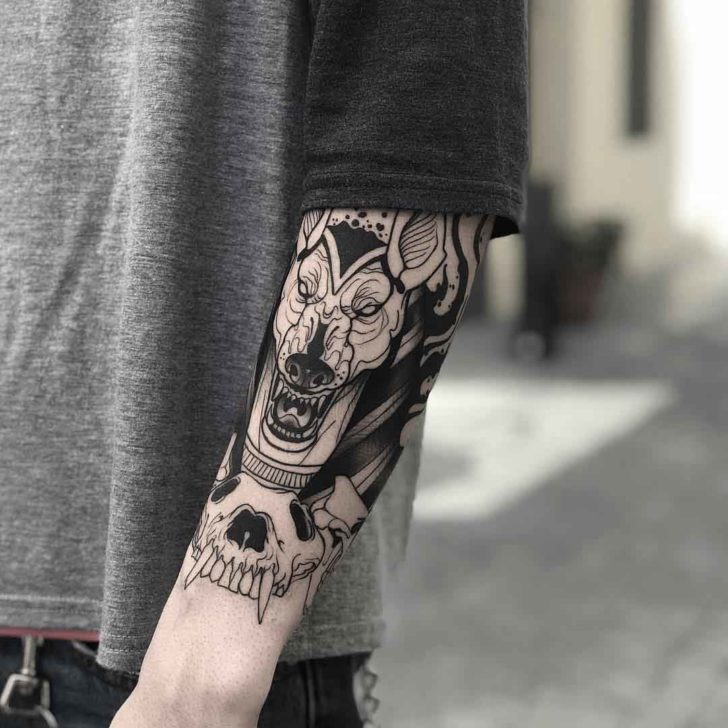 Skull Anubis Tattoo on Arm