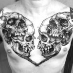 Skulls Tattoo on Chest