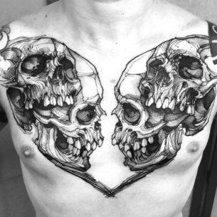 Skulls Tattoo on Chest