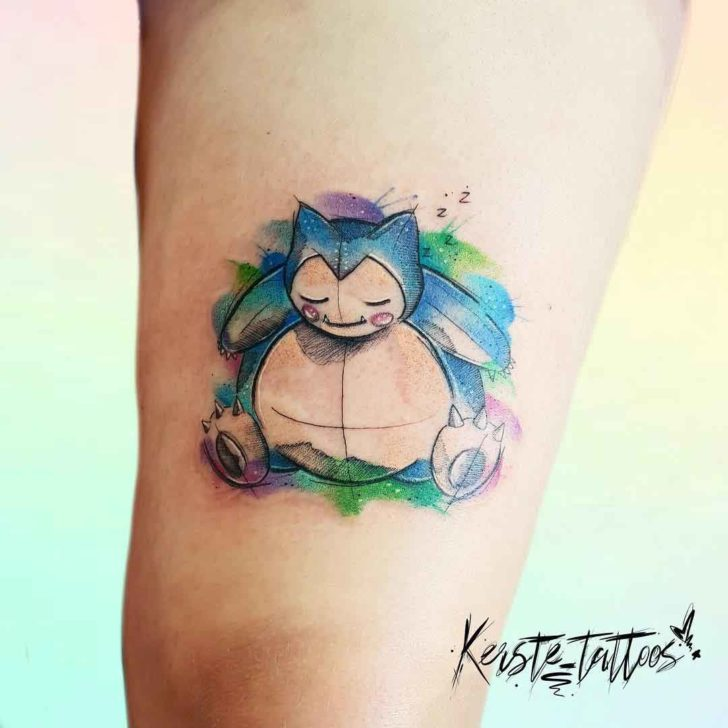 watercolor pokemon tattoo snorlax