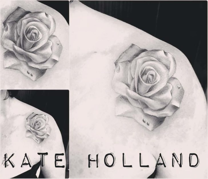 Soft Grey Rose Shoulder Tattoo