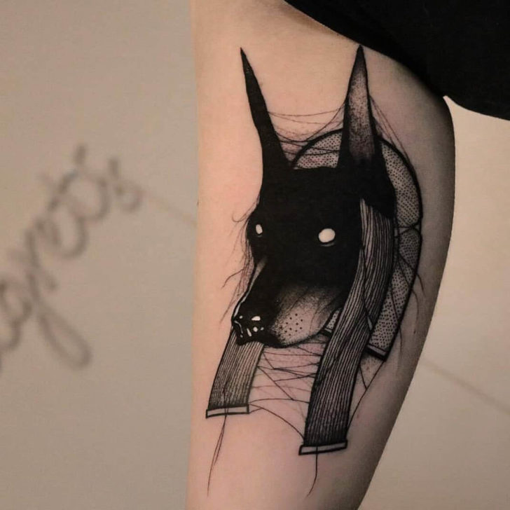 Spider Web Anubis Tattoo