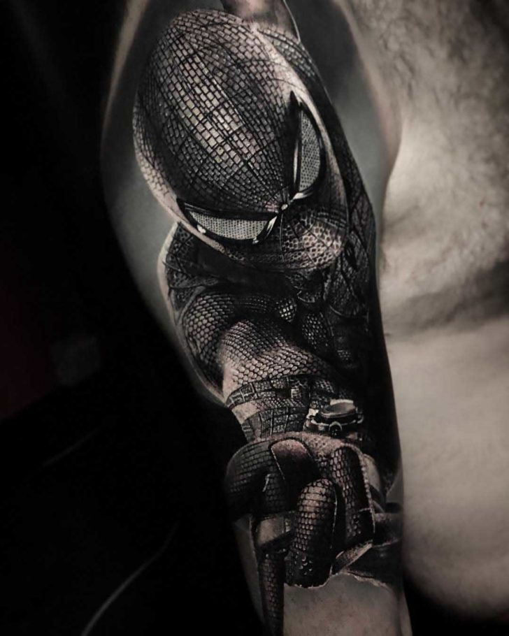 realistic spiderman tattoo