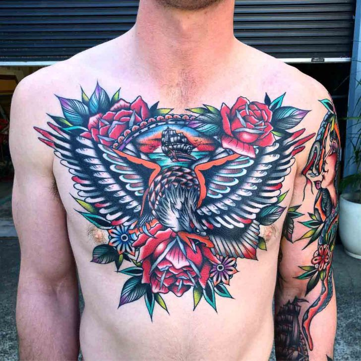 chest tattoo traditional style