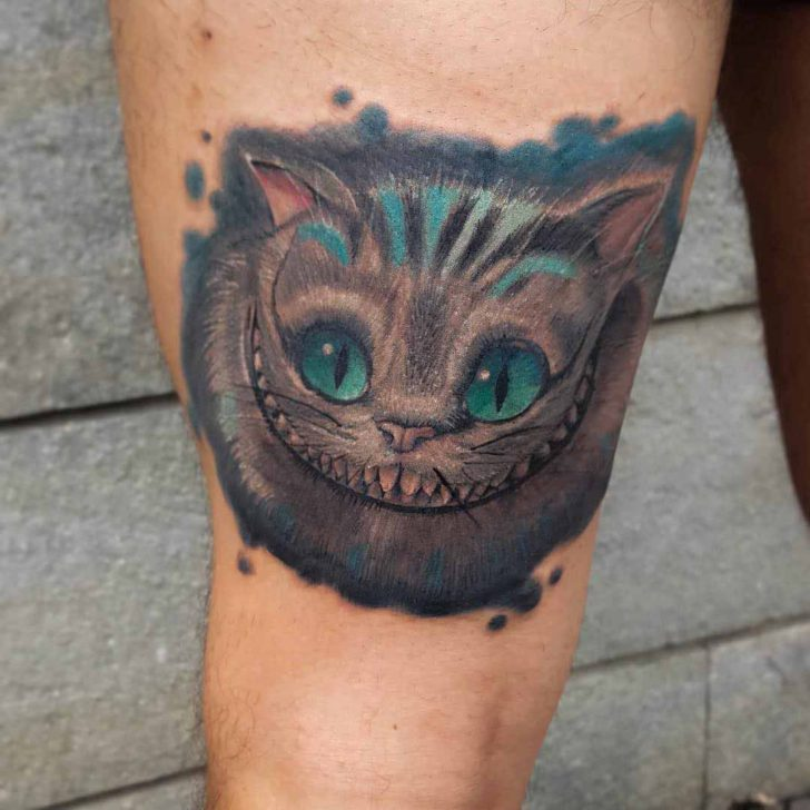 Wide Smile Cheshire Cat Tattoo
