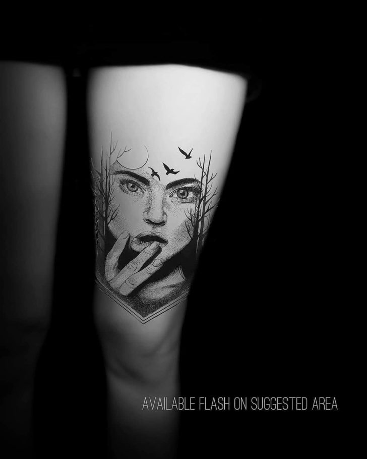 dotwork tattoo girl face on thigh