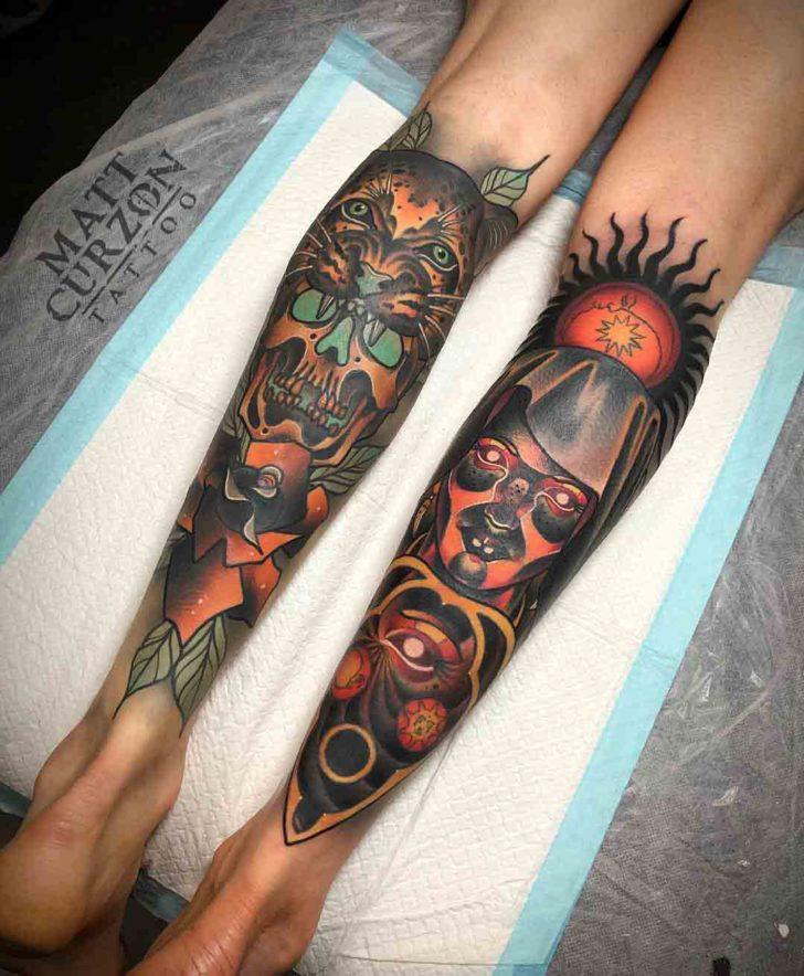 calf tattoo neo-traditional