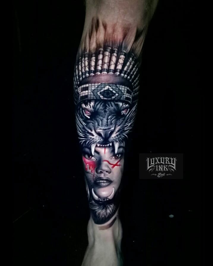 Angry Tiger Girl Face Tattoo