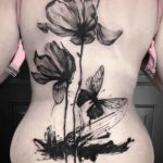 Black Flowers Tattoo on Back