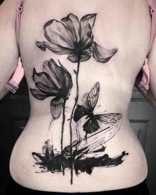 Black Flowers Tattoo on Back