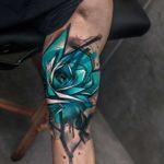 Blue Rose Tattoo on Bicep
