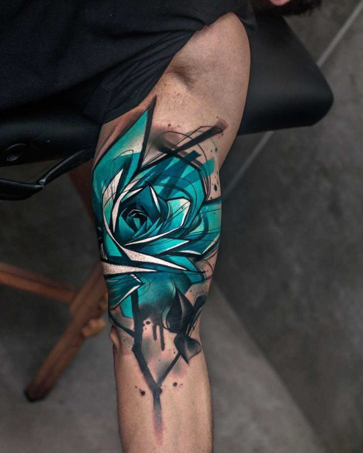 bicep tattoo rose blue