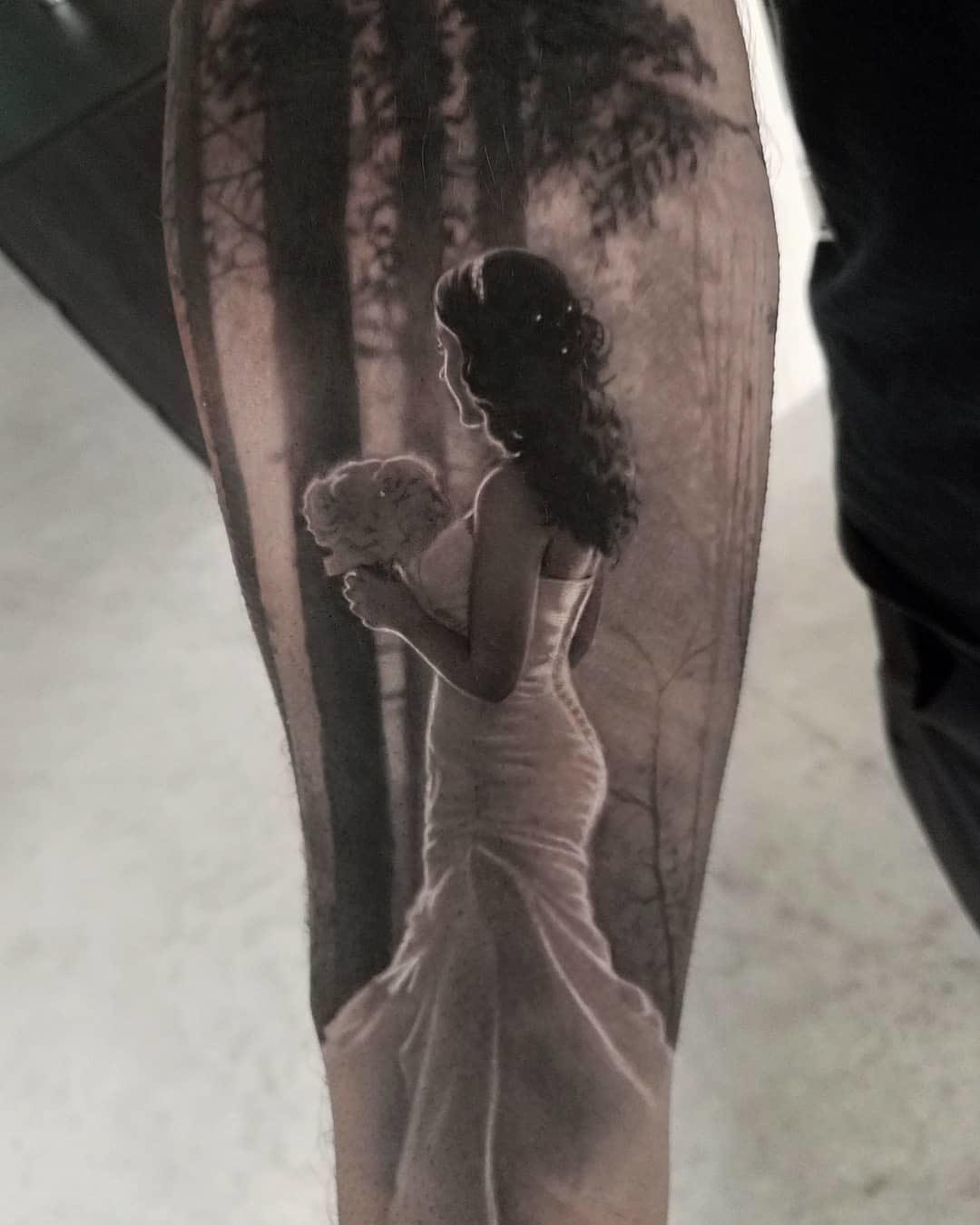 black and grey bride tattoo