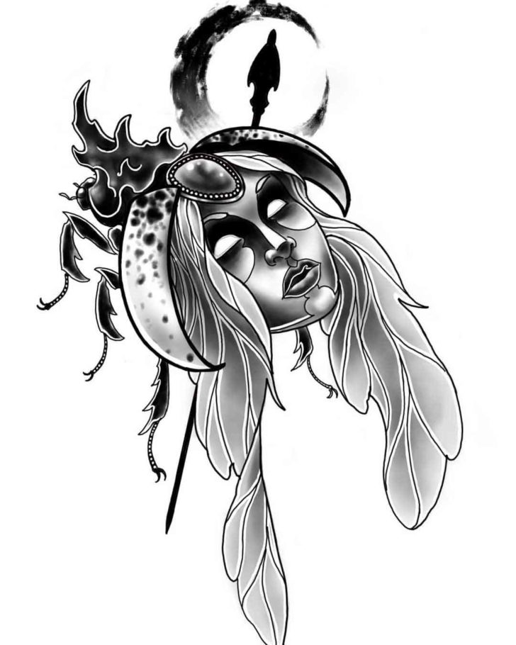 Bug Girl Face Tattoo Design