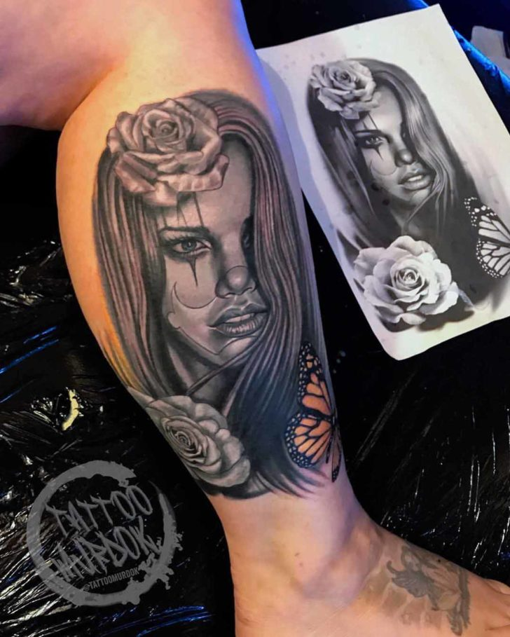 Chicano Girl Face Tattoo