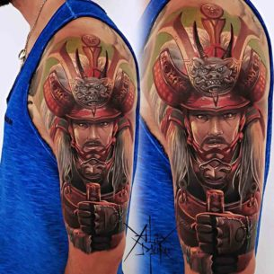 Chinese Warrior Tattoo on Shoulder