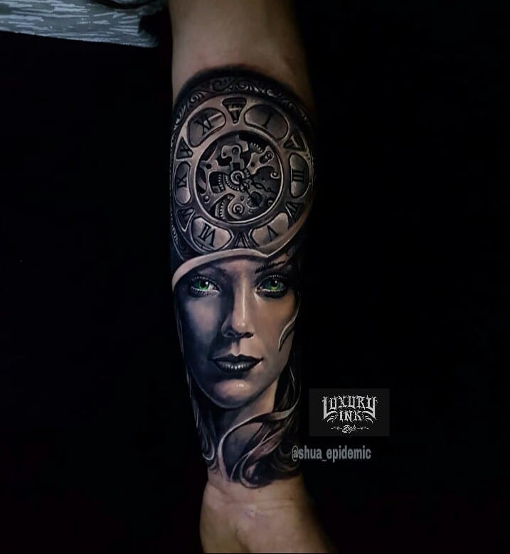 Clockwork Girl Face Tattoo