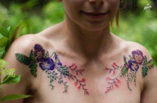 Collar Bone Tattoos Flowers