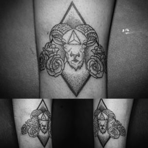 Dotwork Ram Tattoo