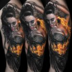 Flamming Girl Tattoo