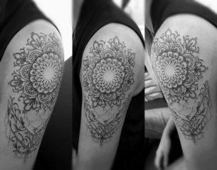 Floral Mandala Tattoo on Shoulder