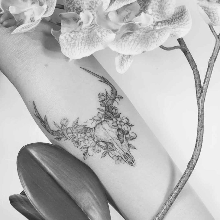 6a315c06f4c82 Flowers and Deer Skull | Best Tattoo Ideas Gallery