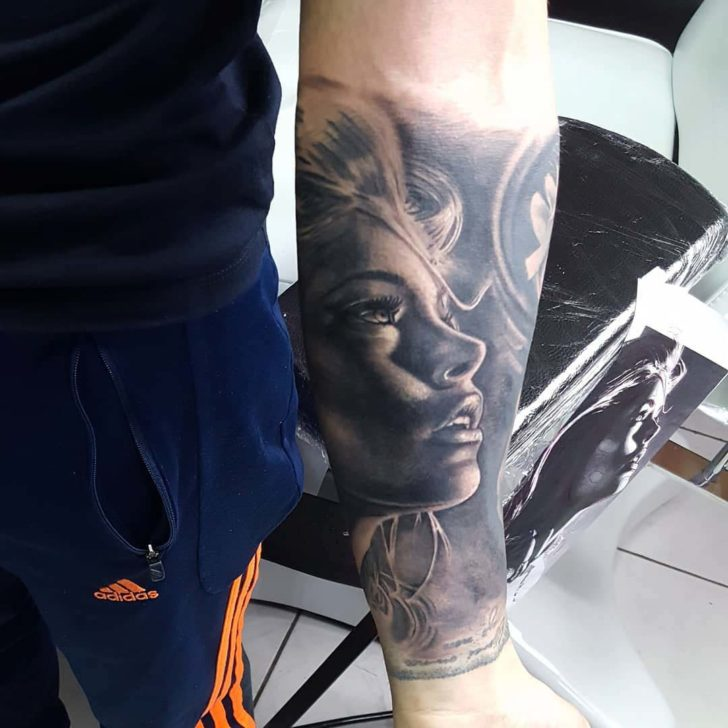 Forearm Girl Face Tattoo