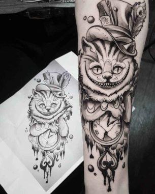Grey Cheshire Cat Tattoo