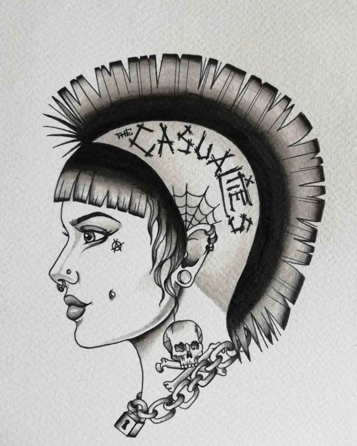 Grey Punk Girl Face Tattoo