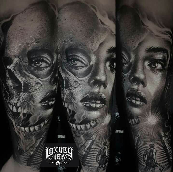 Half Skull Girl Face Tattoo