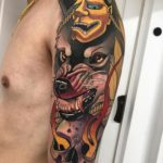 Hannya Wolf Skull Tattoo on Shoulder