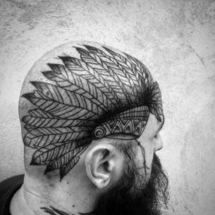 Indian Feathers Tattoo on Head