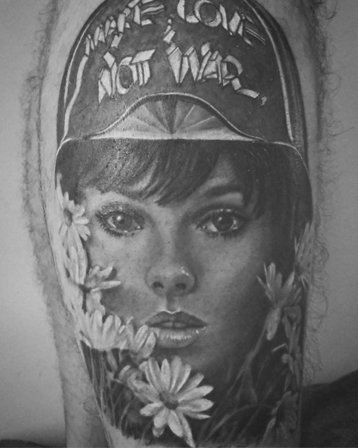 Make Love Not War Girl Face Tattoo