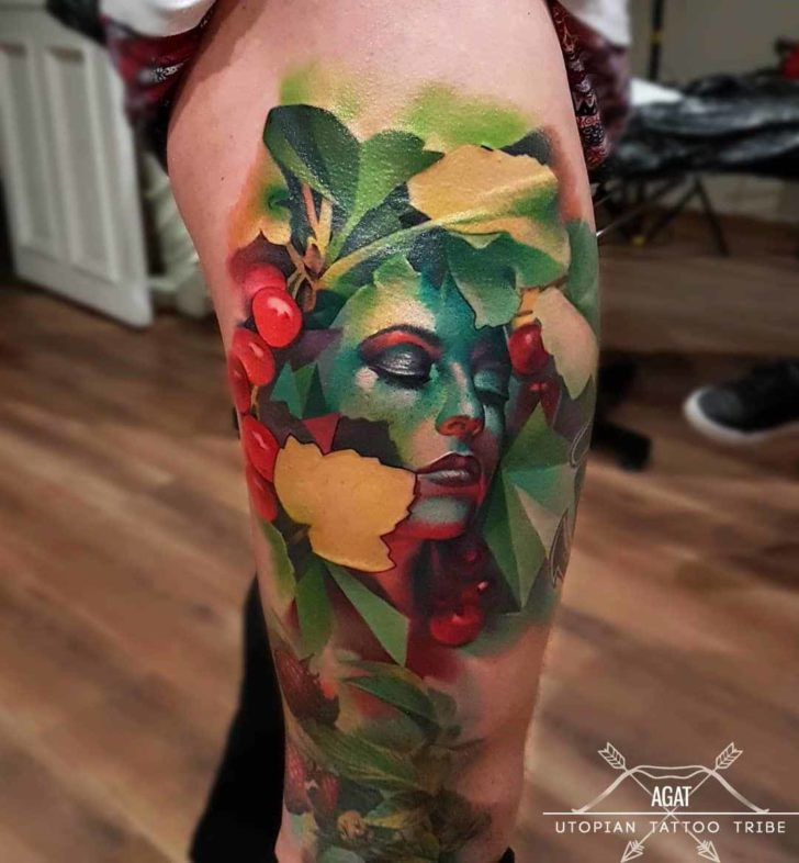 Nature Girl Face Tattoo