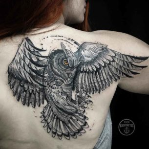 Grey Owl Tattoo on Shoulder Blade