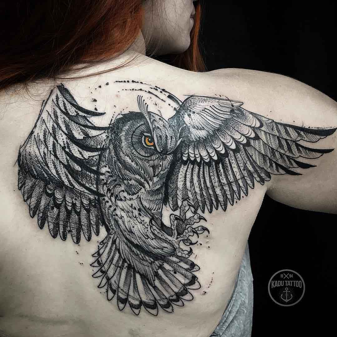 shoulder blade tattoo owl
