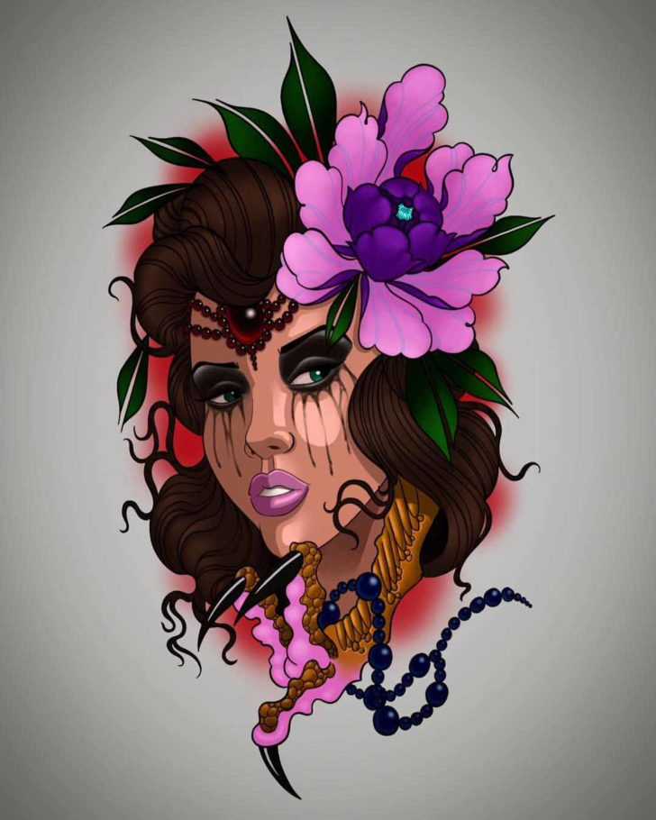 Purple Flower Girl Face Tattoo Design