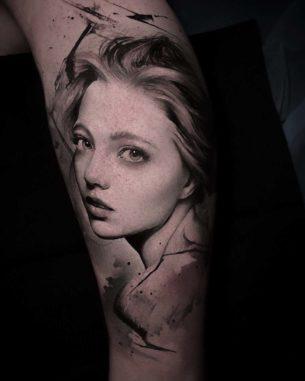 Real Girl Portrait Tattoo