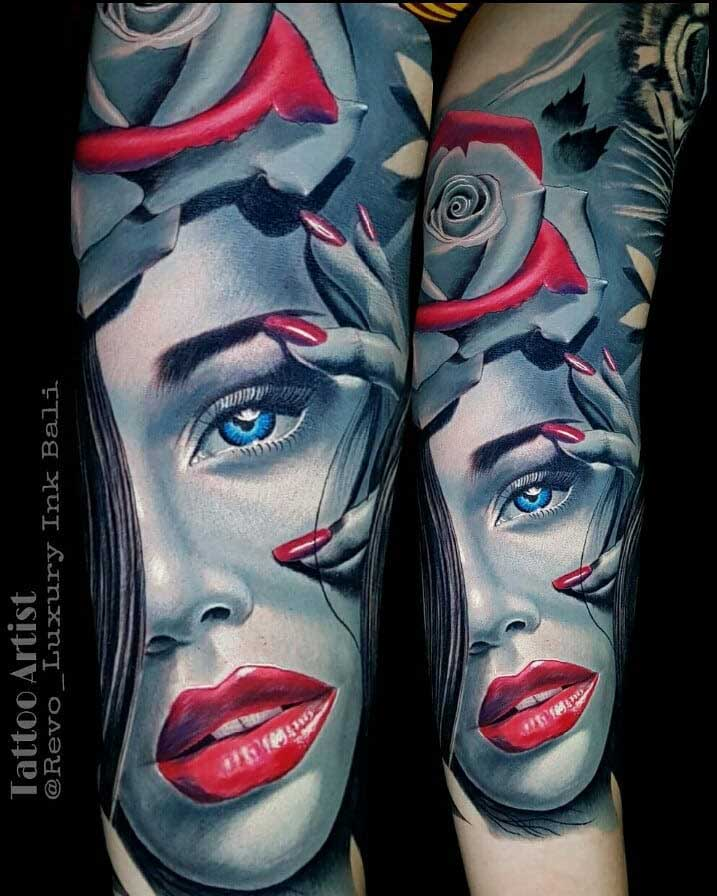 Red Lips Girl Face Tattoo