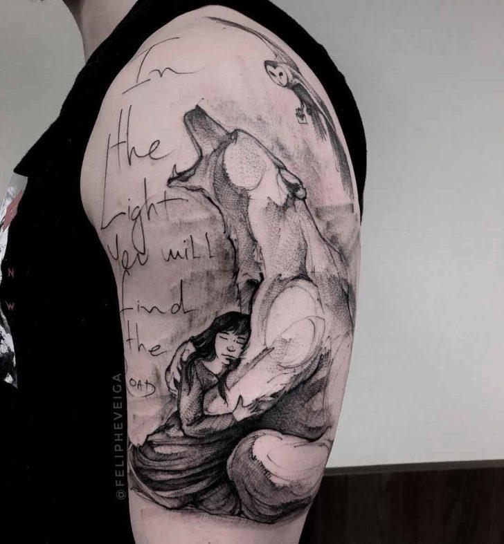polar tattoo on shoulder