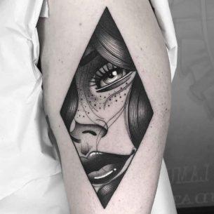 Rhombus Girl Portrait Tattoo