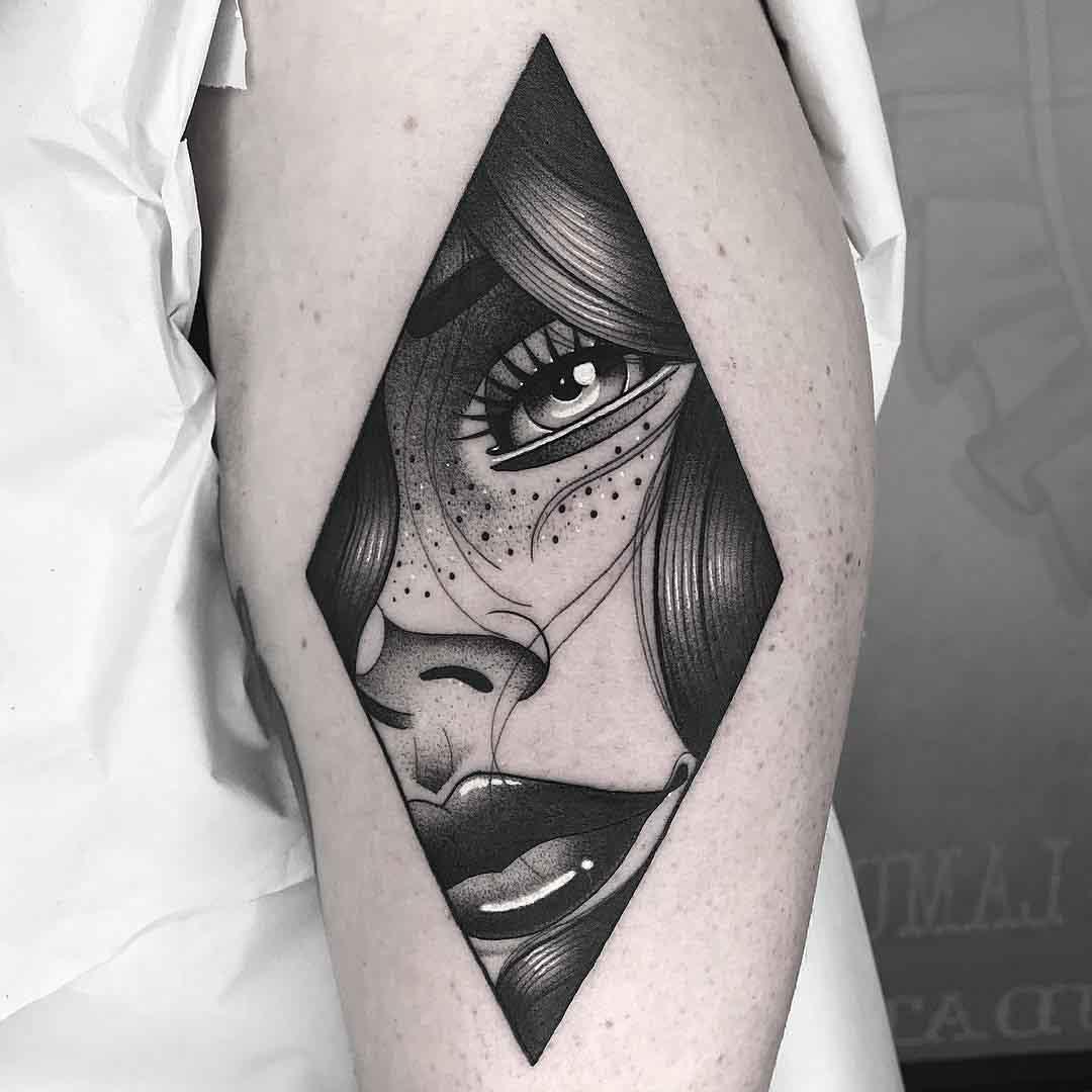 portrait girl tattoo