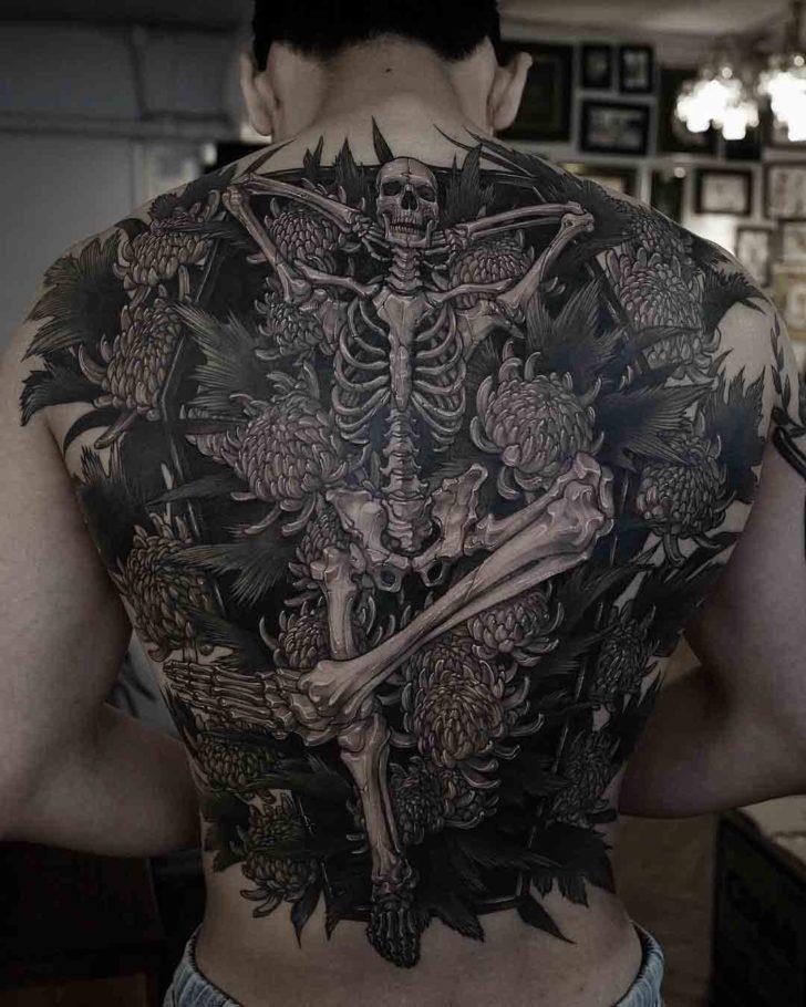 back tattoo skeleton