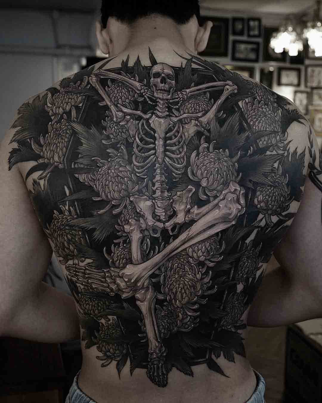 back tattoo skeleton