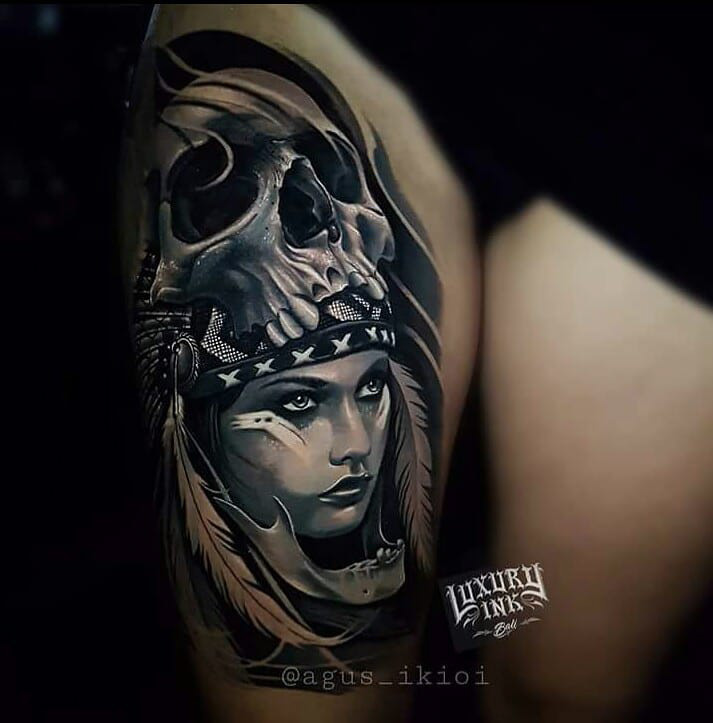 Skull Girl Face Tattoo