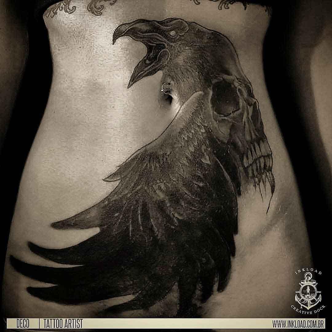 stomack tattoo raven skull