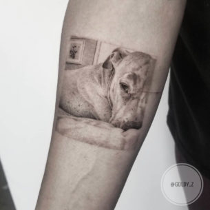 Sleepy Puppy Tattoo