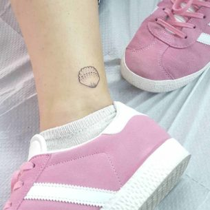 Small Shell Tattoo on Ankle