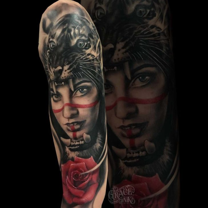 Tattoo Sleeve Girl Face Tattoo Tiger